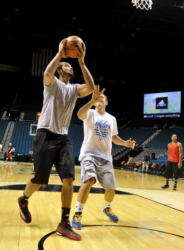 Las Vegas, Nevada (July 27, 2014) – Joakim Noah of the Chicago Bulls goes up for a shot during a pick-up game at the adidas Basketball Boost launch event at the MGM Grand Garden Arena.