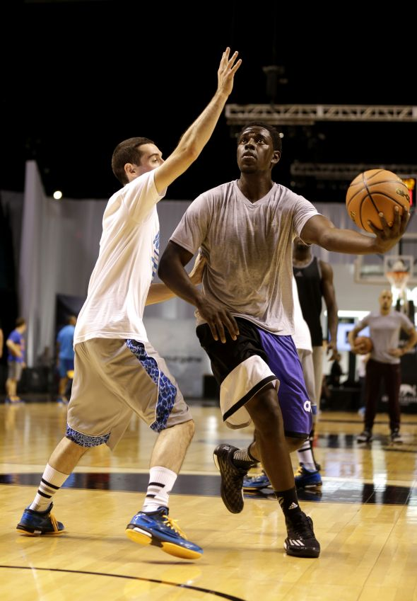 Las Vegas, Nevada (July 27, 2014) – Jrue Holiday of the New Orleans Pelicans takes a shot during a pick-up game at the adidas Basketball Boost launch event at the MGM Grand Garden Arena.