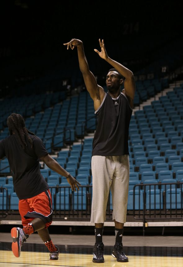 Las Vegas, Nevada (July 27, 2014) – Tim Hardaway Jr. of the New York Knicks goes up for a shot during a pick-up game at the adidas Basketball Boost launch event at the MGM Grand Garden Arena.