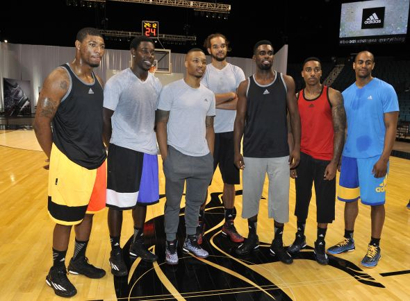 Las Vegas, Nevada (July 27, 2014) – Damian Lillard of the Portland Trail Blazers, Joakim Noah of the Chicago Bulls, Jrue Holiday of the New Orleans Pelicans, Tim Hardaway Jr of the New York Knicks, Jeff Teague of the Atlanta Hawks and Arron Afflalo of the Denver Nuggets pose for a photo at the adidas Basketball Boost launch event at the MGM Grand Garden Arena.
