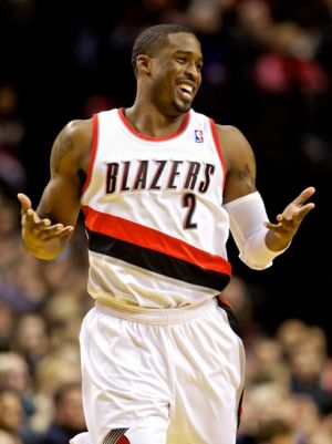 Jan 23, 2014; Portland, OR, USA; Portland Trail Blazers shooting guard Wesley Matthews (2) reacts after making a three point basket in the first quarter against the Denver Nuggets at the Moda Center. Mandatory Credit: Craig Mitchelldyer-USA TODAY Sports