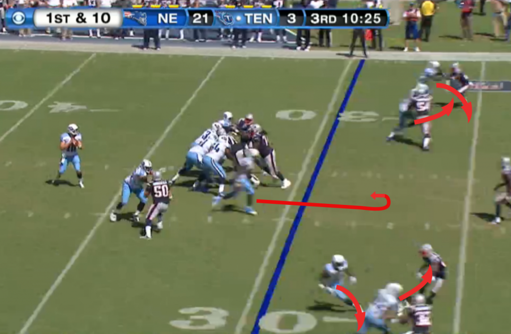 The ball is snapped, and both sets of receivers run crossing routes, while CJ sits down in the middle of the field.