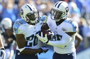 Sep 22, 2013; Nashville, TN, USA; Tennessee Titans cornerback Jason McCourty (30) and cornerback Alterraun Verner (20) celebrate after Verner (20) made the game winning tackle against the San Diego Chargers during the second half at LP Field. The Titans beat the Chargers 20-17. Mandatory Credit: Don McPeak-USA TODAY Sports
