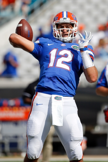 Oct 29, 2016; Jacksonville, FL, USA; Florida Gators quarterback Austin Appleby (12) works out prior to the game at EverBank Field. Mandatory Credit: Kim Klement-USA TODAY Sports