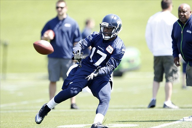 May 10, 2013; Renton, WA, USA; Seattle Seahawks wide receiver Chris Harper (17) catches a pass in a rookie minicamp practice at the Virginia Mason Athletic Center. Mandatory Credit: Joe Nicholson-USA TODAY Sports