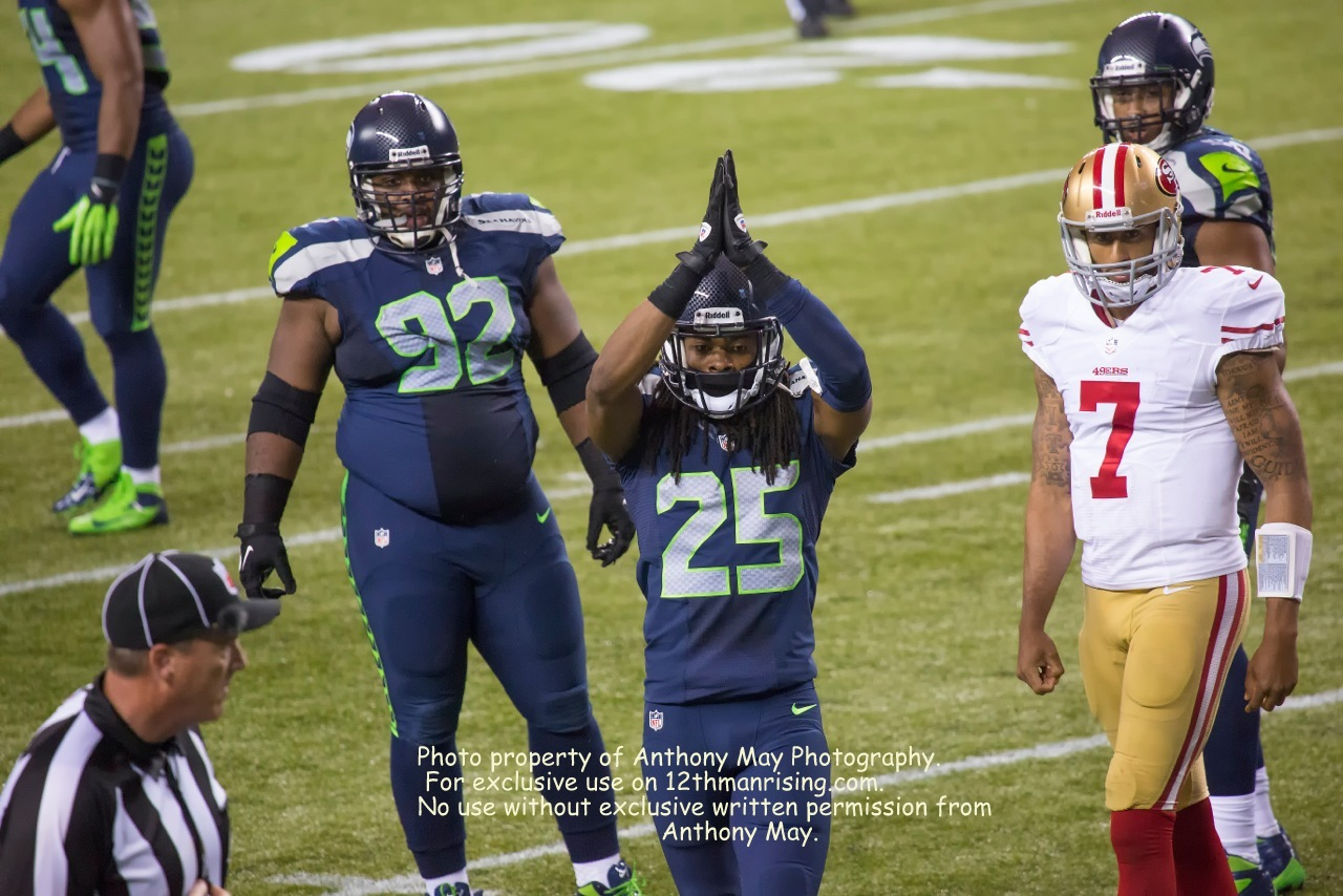 Richard Sherman calls the safety. http://www.facebook.com/anthonymayphotography