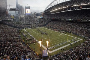 Sep 15, 2013; Seattle, WA, USA; A general view during Seattle Seahawks player introductions before the game against the San Francisco 49ers at CenturyLink Field. Mandatory Credit: Joe Nicholson-USA TODAY Sports