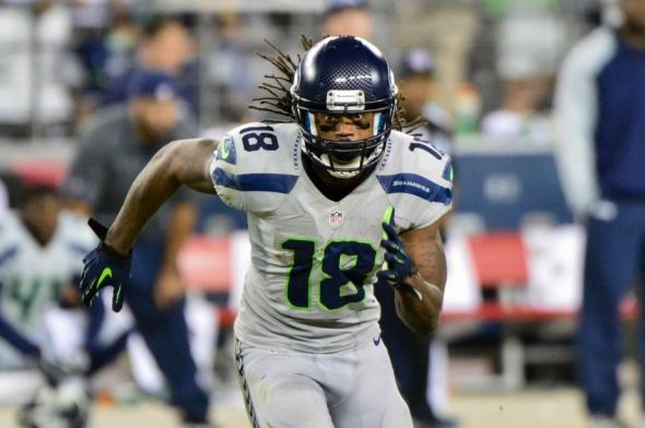 Oct 17, 2013; Phoenix, AZ, USA; Seattle Seahawks wide receiver Sidney Rice (18) during the game against the Arizona Cardinals at University of Phoenix Stadium. Mandatory Credit: Matt Kartozian-USA TODAY Sports