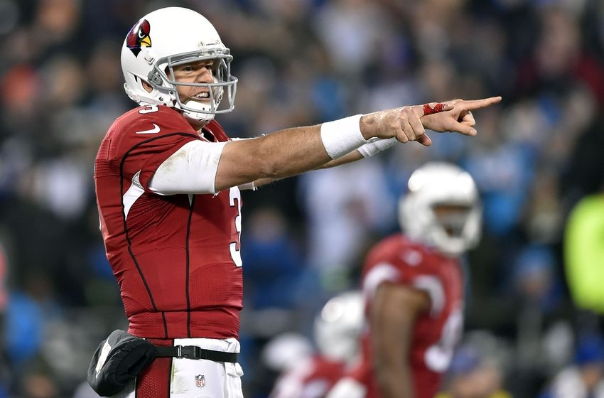 Jan 24, 2016; Charlotte, NC, USA; Arizona Cardinals quarterback Carson Palmer (3) signals at the line of scrimmage during the third quarter against the Carolina Panthers in the NFC Championship football game at Bank of America Stadium. Mandatory Credit: Bob Donnan-USA TODAY Sports