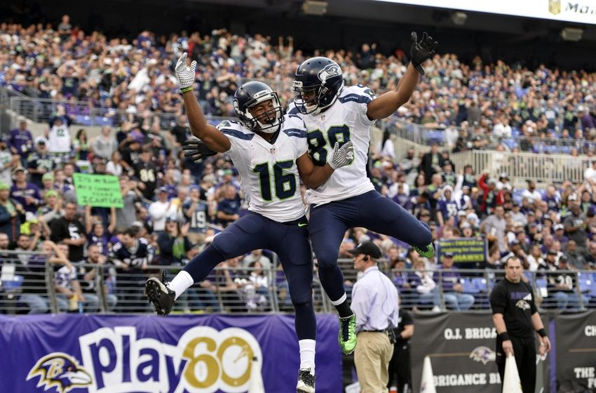 Seattle Seahawks wide receiver Tyler Lockett celebrates with wide receiver Doug Baldwin