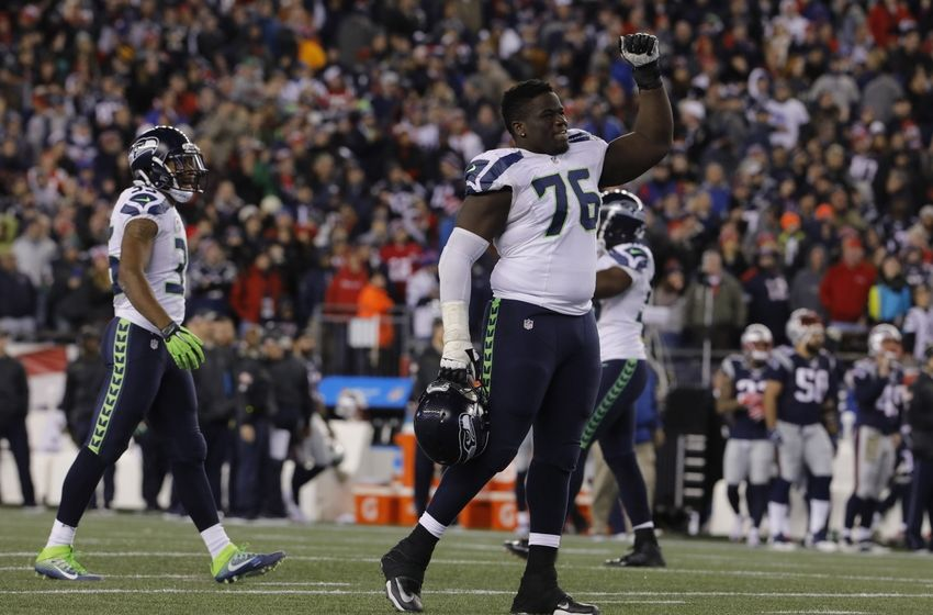 Nov 13, 2016; Foxborough, MA, USA; Seattle Seahawks offensive guard Germain Ifedi (76) reacts after defeating the New England Patriots at Gillette Stadium. Seattle Seahawks defeated the Patriots 31-24. Mandatory Credit: David Butler II-USA TODAY Sports