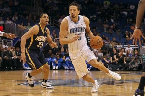 October 19, 2012; Orlando FL, USA; Orlando Magic small forward Hedo Turkoglu (15) drives to the basket as Indiana Pacers shooting guard Gerald Green (25) defends during the first quarter at Amway Center. Mandatory Credit: Kim Klement-USA TODAY Sports