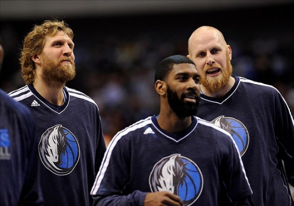 Mar 28, 2013; Dallas, TX, USA; Dallas Mavericks power forward Dirk Nowitzki (left) and shooting guard O.J. Mayo (middle) and center Chris Kaman (right) before the game against the Indiana Pacers at the American Airlines Center. Mandatory Credit: Jerome Miron-USA TODAY Sports
