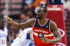 Jan 30, 2013; Philadelphia, PA, USA; Washington Wizards center Emeka Okafor (50) celebrates scoring during the first quarter against the Philadelphia 76ers at the Wells Fargo Center. Mandatory Credit: Howard Smith-USA TODAY Sports