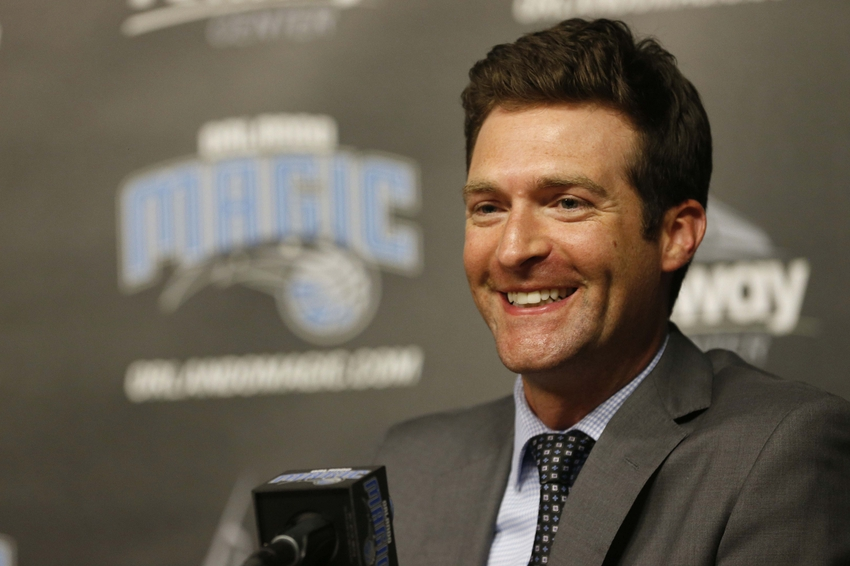 May 23, 2016; Orlando, FL, USA; Orlando Magic general manager Rob Hennigan talks with media as Frank Vogel is introduced as the new head coach during a press conference at Amway Arena. Mandatory Credit: Kim Klement-USA TODAY Sports