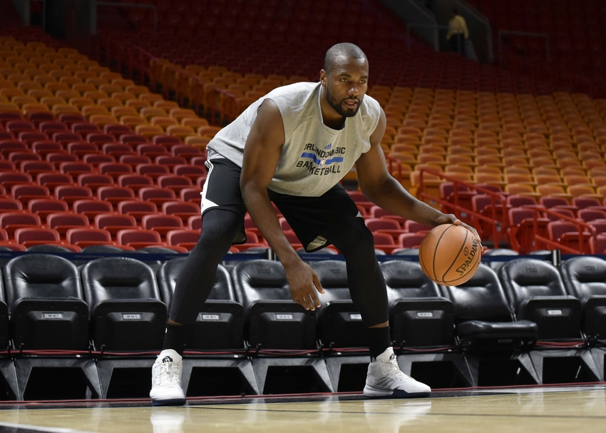 Oct 18, 2016; Miami, FL, USA; Orlando Magic forward Serge Ibaka (7) warms up prior to the game against the Orlando Magic at American Airlines Arena. Mandatory Credit: Steve Mitchell-USA TODAY Sports