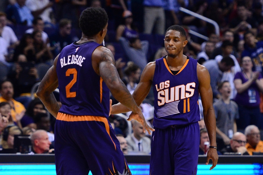 Nov 2, 2016; Phoenix, AZ, USA; Phoenix Suns guard Brandon Knight (11) high fives guard Eric Bledsoe (2) during the second half of the game against the Portland Trail Blazers at Talking Stick Resort Arena. The Suns defeated the Trail Blazers 118-115. Mandatory Credit: Jennifer Stewart-USA TODAY Sports