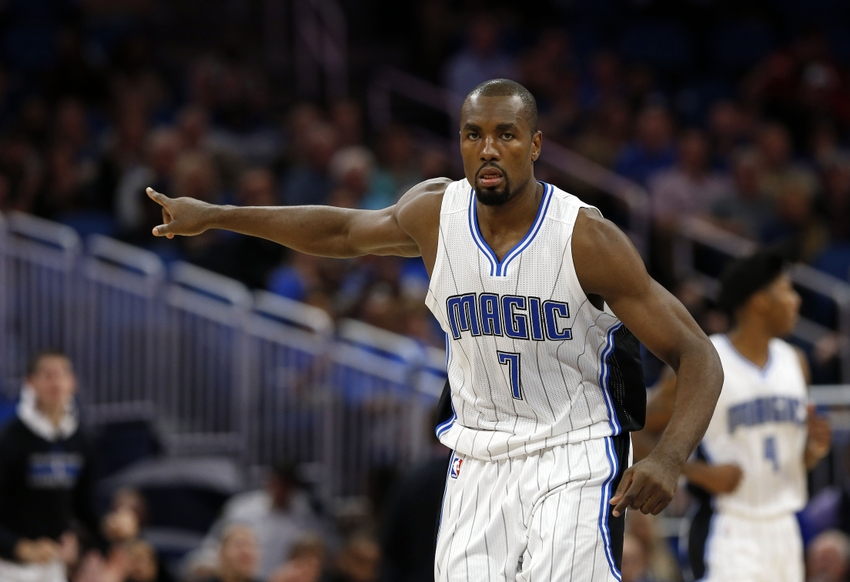 Nov 16, 2016; Orlando, FL, USA; Orlando Magic forward Serge Ibaka (7) points after he made a basket against the New Orleans Pelicans during the second quarter at Amway Center. Mandatory Credit: Kim Klement-USA TODAY Sports