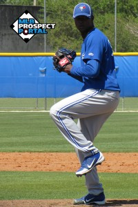Adonys Cardona warms up during Spring Training 2012 (Image via MLBProspectPortal.com)