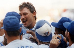 Dave Stieb celebrates his only no-hitter, September 2, 1990