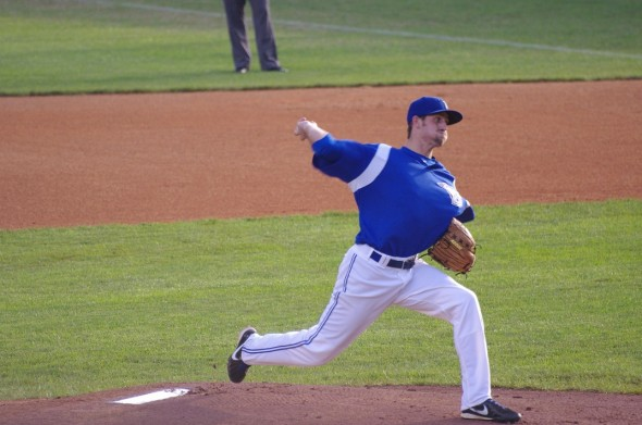 Brady Dragmire throws in Bluefield, WV for the Bluefield Blue Jays in July 2013. Mandatory Credit: Jay Blue