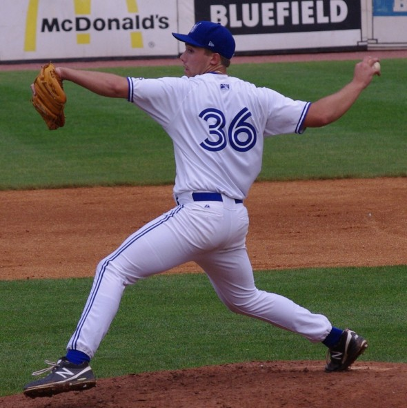 Tom Robson pitches for the Bluefield Blue Jays on July 18, 2013. Mandatory Credit: Jay Blue