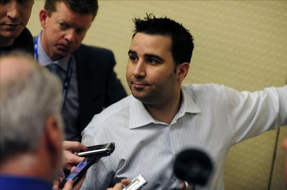 Dec 9, 2013; Orlando, FL, USA; Toronto Blue Jays general manager Alex Anthopoulos talks with reporters during the MLB Winter Meetings at the Walt Disney World Swan and Dolphin Resort. Mandatory Credit: David Manning-USA TODAY Sports