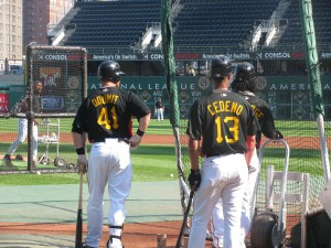 Doumit hit 12 batting practice homers. One went out of PNC Park. Nice to see him crush one when in counted.