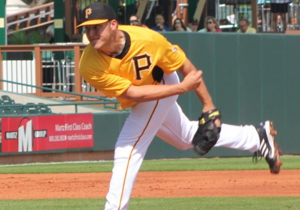 Jameson Taillon pitching in the Pittsburgh Pirates Black and Gold game in 2013. PHOTO Rumbunter.com