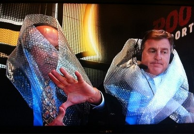 One correct Zoltan, one incorrect Zoltan, and lots of bubble wrap in the ROOT sports booth.