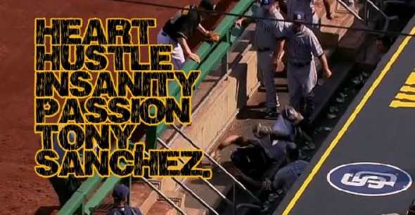 Pirates catcher Tony Sanchez lands on the concrete in the Padres dugout.
