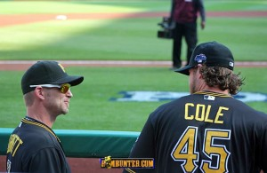 Gerrit Cole jokes with A.J. Burnett