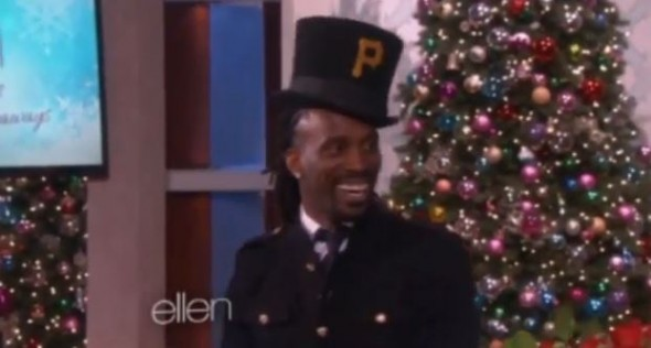 Andrew McCutchen celebrates after proposing on the Ellen Show