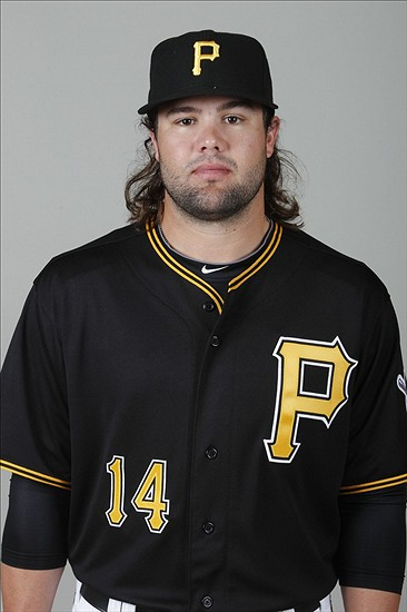 Feb 21, 2014; Bradenton, FL, USA; Pittsburgh Pirates outfielder Jaff Decker (14) poses for a photo at Pirate City. Mandatory Credit: Kim Klement-USA TODAY Sports