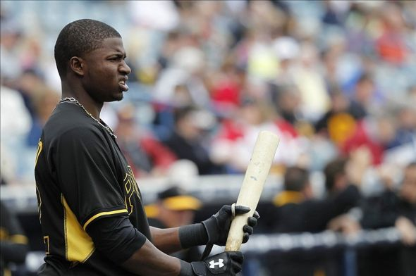 Feb 27, 2014; Tampa, FL, USA; Pittsburgh Pirates right fielder Gregory Polanco (62) prior to the game on deck against the New York Yankees at George M. Steinbrenner Field. Mandatory Credit: Kim Klement-USA TODAY Sports