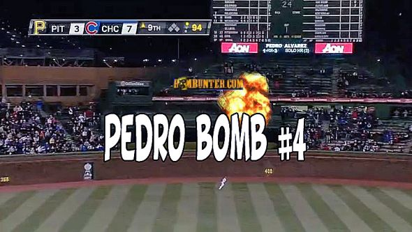 Pedro Alvarez blasts his fourth home run to dead center field at Wrigley Field.