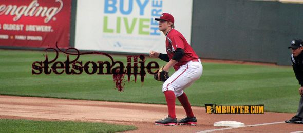 Stetson Allie playing first base for the Altoona Curve