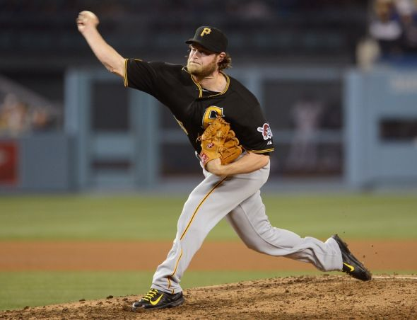 May 29, 2014; Los Angeles, CA, USA; Pittsburgh Pirates starting pitcher Gerrit Cole (45) in the sixth inning of the game against the Los Angeles Dodgers at Dodger Stadium. Mandatory Credit: Jayne Kamin-Oncea-USA TODAY Sports