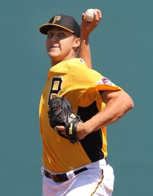 February 28, 2013; Bradenton, FL, USA; Pittsburgh Pirates starting pitcher Jameson Taillon (76) throws a pitch in the first inning against the Boston Red Sox at McKechnie Field. Mandatory Credit: Kim Klement-USA TODAY Sports