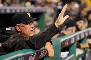 Oct 7, 2015; Pittsburgh, PA, USA; Pittsburgh Pirates manager Clint Hurdle (13) gestures in the dugout against the Chicago Cubs during the sixth inning in the National League Wild Card playoff baseball game at PNC Park. The Cubs won 4-0. Mandatory Credit: Charles LeClaire-USA TODAY Sports