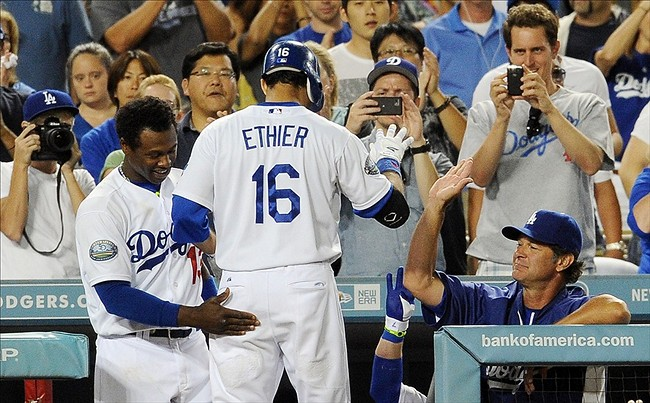 Sept.1, 2012; Los Angeles, CA, USA; Los Angeles Dodgers right fielder Andre Ethier (16) is met by shortstop Hanley Ramirez (13) after a home run in the sixth inning of the game against the Arizona Diamondbacks at Dodger Stadium. Mandatory Credit: Jayne Kamin-Oncea-US PRESSWIRE