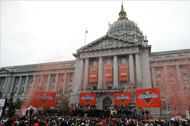 October 31, 2012; San Francisco, CA, USA; Confetti falls around the San Francisco Giants team and staff during the World Series victory celebration at City Hall. The Giants defeated the Detroit Tigers in a four-game sweep to win the 2012 World Series. Mandatory Credit: Kelley L Cox-US PRESSWIRE
