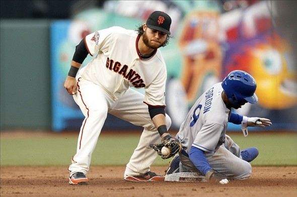 Brandon Crawford awaits throw on a stolen-base attempt.