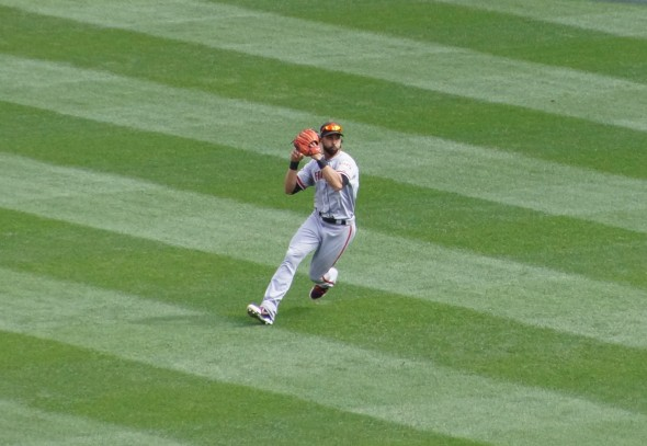 Angel Pagan in the outfield at Yankee Stadium 9/21/13. Photo by Denise Walos