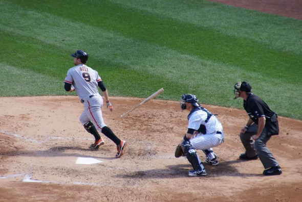 Brandon Belt at Yankee Stadium 9/21/13. Photo by Denise walos
