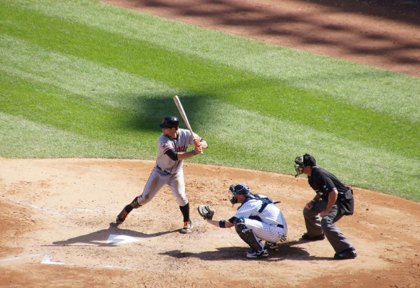 Brandon Belt at Yankee Stadium on 9/21/13. Photo by Denise Walos