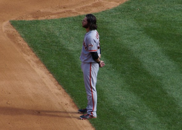 Brandon Crawford In The Second Inning at Yankee Stadium 9/21/13. Photo by Denise Walos.