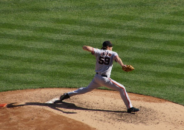 Mike Kickham pitching at Yankee Stadium on Saturday 9/21/13. Photo by Denise Walos
