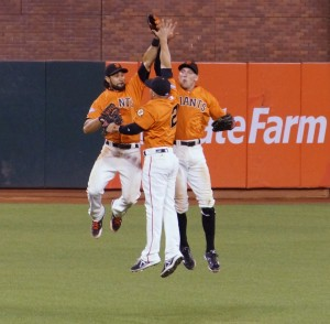 Angel Pagan in his first outfield bump since his return to AT&T on 9/6/13. Photo by Denise Walos