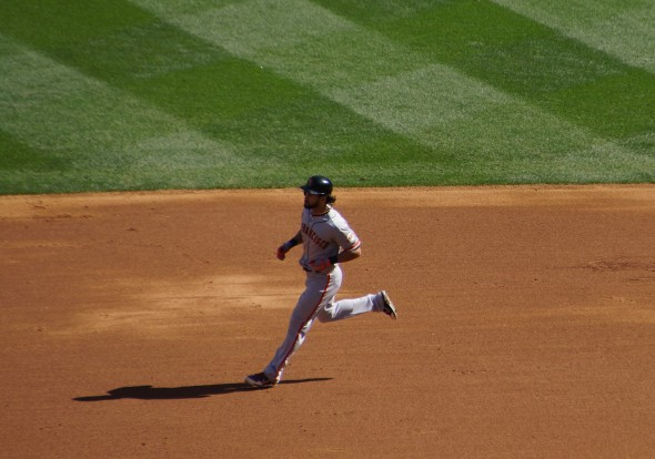 Angel Pagan running to 2B on Saturday 9/21/13 at Yankee Stadium. Photo by Denise Walos